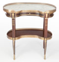 Furniture : French, A FRENCH LOUIS XVI-STYLE MAHOGANY, GILT BRONZE AND MARBLE TABLEÀ ROGNON . Maker unknown, France, circa 1900. 30-1/2...