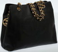 Luxury Accessories:Bags, Chanel Black Caviar Leather Tote Bag with Gold Chain. ...