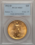 Saint-Gaudens Double Eagles: , 1913-D $20 MS63 PCGS. PCGS Population (1214/1619). NGC Census:(1083/993). Mintage: 393,500. Numismedia Wsl. Price for prob...