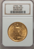 Saint-Gaudens Double Eagles: , 1908 $20 Motto MS62 NGC. NGC Census: (749/717). PCGS Population(573/1230). Mintage: 156,200. Numismedia Wsl. Price for pro...