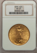 Saint-Gaudens Double Eagles: , 1909 $20 MS61 NGC. NGC Census: (283/671). PCGS Population(203/1444). Mintage: 161,282. Numismedia Wsl. Price for problemf...