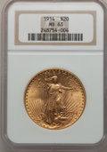 Saint-Gaudens Double Eagles: , 1914 $20 MS63 NGC. NGC Census: (339/359). PCGS Population(666/481). Mintage: 95,200. Numismedia Wsl. Price for problemfre...