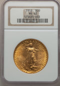 Saint-Gaudens Double Eagles: , 1913 $20 MS62 NGC. NGC Census: (1010/468). PCGS Population(834/1011). Mintage: 168,700. Numismedia Wsl. Price for problem ...