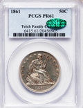 Proof Seated Half Dollars: , 1861 50C PR61 PCGS. CAC. PCGS Population (13/83). NGC Census:(9/79). Mintage: 1,000. Numismedia Wsl. Price for problem fre...