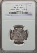 Seated Quarters: , 1882 25C -- Cleaned, Scratches -- NGC Details. VG. NGC Census: (1/67). PCGS Population (0/110). Mintage: 15,200. Numismedia...