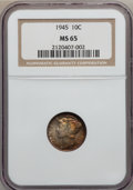 Mercury Dimes, 1945 10C MS65 NGC. This lot will also include a: 1945-S 10C MS65 PCGS. ... (Total: 2 coins)