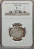 Seated Quarters: , 1861-S 25C Good 4 NGC. NGC Census: (0/23). PCGS Population (5/49).Mintage: 96,000. Numismedia Wsl. Price for problem free ...