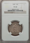 Seated Quarters: , 1889 25C VF20 NGC. NGC Census: (0/170). PCGS Population (0/198).Mintage: 12,000. Numismedia Wsl. Price for problem free NG...