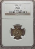 Seated Dimes: , 1886 10C MS63 NGC. NGC Census: (95/303). PCGS Population (120/239).Mintage: 6,376,684. Numismedia Wsl. Price for problem f...