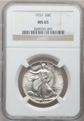 Walking Liberty Half Dollars: , 1937 50C MS65 NGC. NGC Census: (1013/441). PCGS Population(1411/714). Mintage: 9,527,728. Numismedia Wsl. Price for proble...