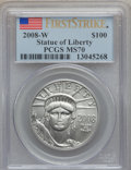 Modern Bullion Coins, 2008-W $100 One-Ounce Statue of Liberty First Strike MS70 PCGS.PCGS Population (277). NGC Census: (0). (#393084)...