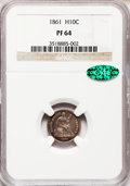 Proof Seated Half Dimes: , 1861 H10C PR64 NGC. CAC. NGC Census: (30/34). PCGS Population(18/9). Mintage: 1,000. Numismedia Wsl. Price for problem fre...