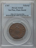 Colonials: , 1787 COPPER New Jersey Copper, Small Planchet, Plain Shield VF25PCGS. PCGS Population (35/140). NGC Census: (8/59). (#50...
