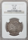 Bust Half Dollars: , 1833 50C XF40 NGC. O-109. NGC Census: (72/1139). PCGS Population(141/1174). Mintage: 5,206,000. Numismedia Wsl. Price for...