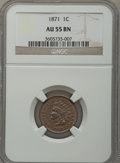 Indian Cents: , 1871 1C AU55 NGC. NGC Census: (37/231). PCGS Population (51/174).Mintage: 3,929,500. Numismedia Wsl. Price for problem fre...