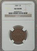 Two Cent Pieces: , 1869 2C AU58 NGC. NGC Census: (32/304). PCGS Population (22/102).Mintage: 1,546,500. Numismedia Wsl. Price for problem fre...