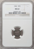 Three Cent Silver: , 1862 3CS MS62 NGC. NGC Census: (84/829). PCGS Population (113/785).Mintage: 343,000. Numismedia Wsl. Price for problem fre...