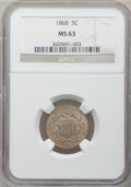 Shield Nickels: , 1868 5C MS63 NGC. NGC Census: (109/413). PCGS Population (148/333).Mintage: 28,800,000. Numismedia Wsl. Price for problem ...