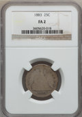 Seated Quarters: , 1883 25C Fair 2 NGC. NGC Census: (0/75). PCGS Population (2/107).Mintage: 14,400. Numismedia Wsl. Price for problem free N...