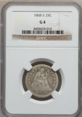 Seated Quarters: , 1868-S 25C Good 4 NGC. NGC Census: (0/34). PCGS Population (1/55).Mintage: 96,000. Numismedia Wsl. Price for problem free ...
