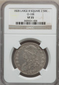 Bust Half Dollars, 1828 50C Large 8, Curl Base 2, Square VF35 NGC. O-108. NGC Census:(21/753). PCGS Population (18/533). Mintage: 3,075,200....