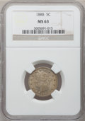 Liberty Nickels: , 1888 5C MS63 NGC. NGC Census: (62/175). PCGS Population (106/202).Mintage: 10,720,483. Numismedia Wsl. Price for problem f...