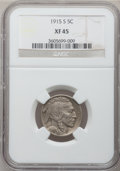 Buffalo Nickels: , 1915-S 5C XF45 NGC. NGC Census: (17/492). PCGS Population (51/746).Mintage: 1,505,000. Numismedia Wsl. Price for problem f...