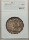 Barber Half Dollars: , 1893-O 50C MS61 ANACS. NGC Census: (11/114). PCGS Population(3/110). Mintage: 1,389,000. Numismedia Wsl. Price for problem...