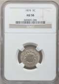Shield Nickels: , 1874 5C AU58 NGC. NGC Census: (12/122). PCGS Population (13/174).Mintage: 3,538,000. Numismedia Wsl. Price for problem fre...