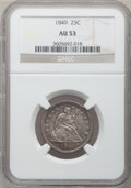 Seated Quarters: , 1849 25C AU53 NGC. NGC Census: (3/53). PCGS Population (3/40).Mintage: 340,000. Numismedia Wsl. Price for problem free NGC...