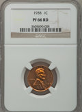 Proof Lincoln Cents: , 1938 1C PR66 Red NGC. NGC Census: (125/13). PCGS Population(238/30). Mintage: 14,734. Numismedia Wsl. Price for problem fr...