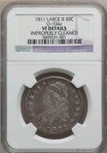 Bust Half Dollars, 1811 50C Large 8 -- Improperly Cleaned -- NGC Details. VF. O-104a.NGC Census: (7/780). PCGS Population (6/349). Mintage: ...