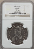 Bust Half Dollars, 1823 50C VF30 NGC. O-107. NGC Census: (27/647). PCGS Population(33/740). Mintage: 1,694,200. Numismedia Wsl. Price for pr...