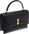 Luxury Accessories:Bags, Hermes 24cm Black Calf Box Leather Kelly Ceinture Bag with GoldHardware. ...