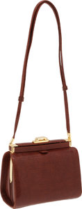 Luxury Accessories:Bags, Judith Leiber Cognac Lizard Bag with Gold Hardware. ...