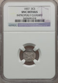 Three Cent Silver: , 1857 3CS -- Improperly Cleaned -- NGC Details. Unc. NGC Census:(3/262). PCGS Population (1/200). Mintage: 1,042,000. Numis...