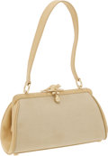 Luxury Accessories:Bags, Kieselstein Cord Beige Fabric and Leather Shoulder Bag with FrogCharm Closure. ...
