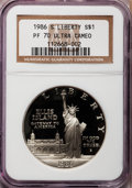 Modern Issues, 1986-S $1 Statue of Liberty Silver Dollar PR70 Ultra Cameo NGC. NGCCensus: (327). PCGS Population (213). Mintage: 6,414,63...