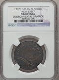 1787 COPPER New Jersey Copper, Large Planchet, Plain Shield -- Environmental Damage -- NGC Details. VG. NGC Census: (6/4...