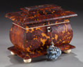 Decorative Arts, British:Other , EARLY VICTORIAN TORTOISESHELL AND IVORY DOUBLE TEA CADDY. Circa1860. 2-1/4 x 7-1/4 x 4-1/2 inches (5.7 x 18.4 x 11.4 cm). ...
