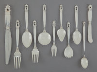 A ONE HUNDRED FORTY-NINE PIECE GEORG JENSEN SILVER FLATWARE SERVICE IN THE ACORN PATTERN