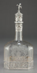 Silver Holloware, Continental:Holloware, A FRIEDRICH REUSSWIG HANAU SILVER MOUNTED ETCHED GLASS DECANTER.Friedrich Reusswig, Hanau, Germany, circa 1910. Marks: (cre...