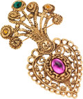 Luxury Accessories:Accessories, Christian LaCroix Gold & Colored Crystal Heart and Woven RopePin. ...