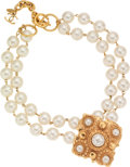 Luxury Accessories:Accessories, Chanel Double Strand Pearl and Gold Necklace with Pendant. ...
