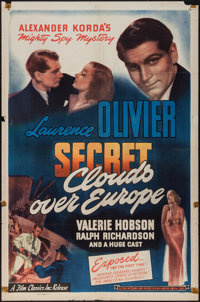 "Clouds Over Europe (Film Classics, R-1947). One Sheet (27"" X 41""). Thriller"