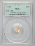 California Fractional Gold: , 1854 25C Liberty Octagonal 25 Cents, BG-108, Low R.4, MS63 PCGS.PCGS Population (30/23). NGC Census: (10/1). (#10377)...