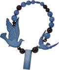 Luxury Accessories:Accessories, Isabel Canovas Blue and Black Wood Bead and Lucite Dove Necklace....
