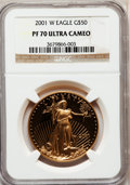 Modern Bullion Coins: , 2001-W G$50 One-Ounce Gold Eagle PR70 Ultra Cameo NGC. NGC Census: (489). PCGS Population (90). Numismedia Wsl. Price for ...
