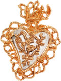 Luxury Accessories:Accessories, Christian LaCroix Silver & Gold Flaming Heart Pin. ...