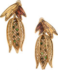 Luxury Accessories:Accessories, Isabel Canovas Budding Gold Petal & Poured Glass Leaf Earrings....